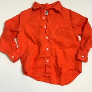 Boys Janie and Jack Orange Linen Button down Sz4